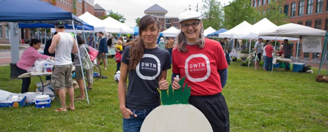"""Jessica Bridge (left), co-owner of Aartistic Inc. and president of the Winooski Community Partnership, and Winooski city manager Katherine """"Deac"""" Decarreau. That's the new Winooski Community Partnership logo on their shirts. - ANDY DUBACK"""