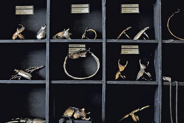 Jewelry made with cast beetles - SARAH PRIESTAP