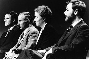 John Easton Jr., Richard Gottlieb, Madeleine Kunin and William Wicker at a 1984 gubernatorial debate