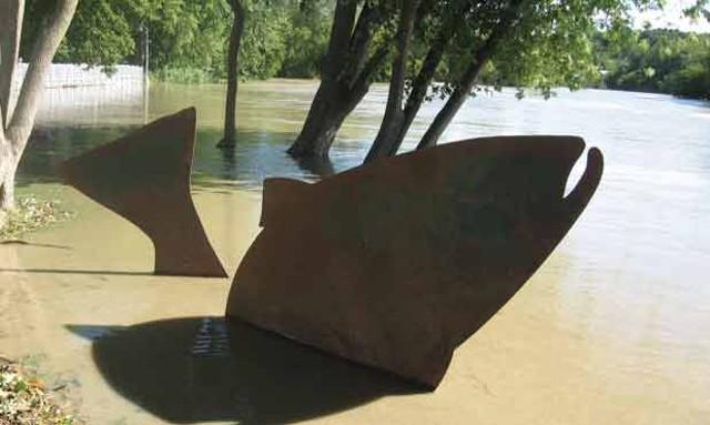 """Kate Pond's """"Steelhead"""" sculpture"""