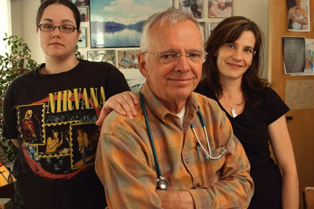 Katie Tanner, Dr. Fred Holmes, and Nicky Hayden, LPN