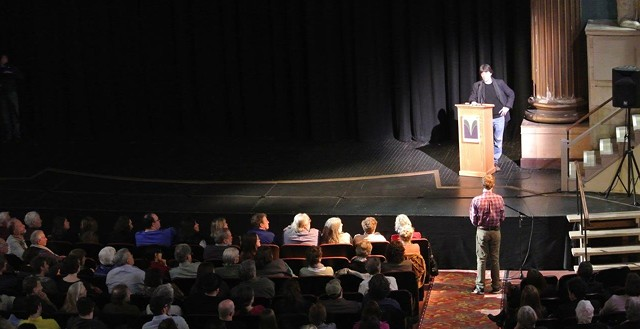 Ken Burns listens to a question from an audience member at the premiere of The Address at the Latchis Theatre. - COURTESY OF ARIA CARTER