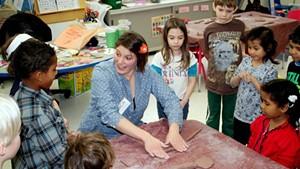 Kim Desjardins and kindergarten class at IAA