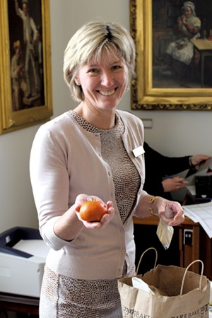 Kitty Toll takes her lunch from her sister's committee room - PAUL HEINTZ