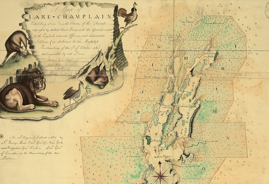 Lake Champlain and a cartouche from a 1767 map - COURTESY OF THE NATIONAL ARCHIVES
