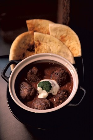 Lamb meatballs with naan - MATTHEW THORSEN