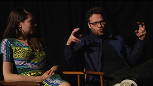 Lauren Miller and Seth Rogen at Merrill's Roxy Cinemas