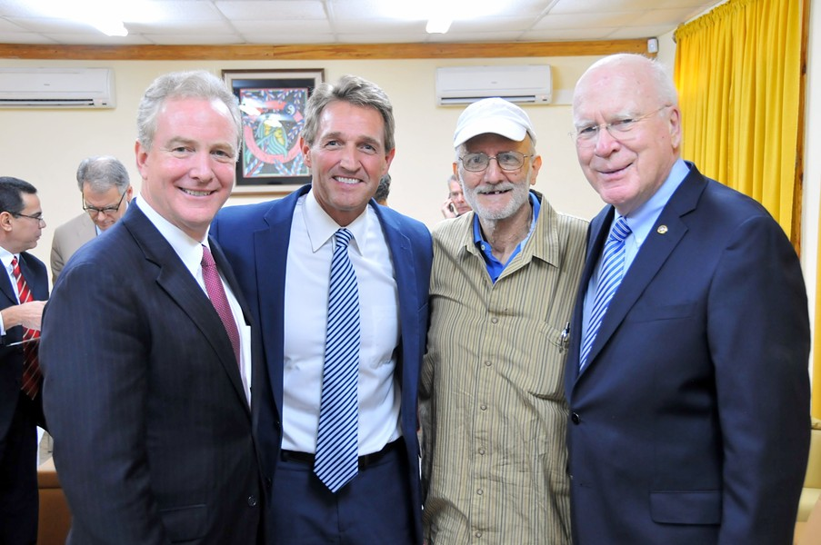 Congressman Chris Van Hollen, Sen. Jeff Flake, Alan Gross and Sen. Patrick Leahy in Havana Wednesday morning. - COURTESY: SEN. LEAHY'S OFFICE