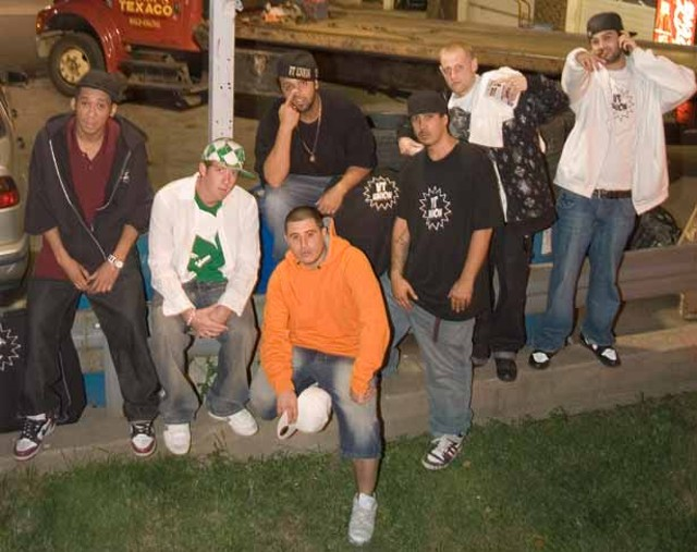 Left to right: A-Dog, DJ Russell, Dakota, Burnt MD, Nastee, Network, Manus