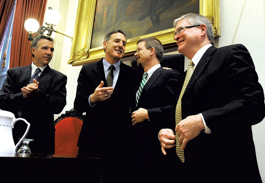 Left to right: Lt. Gov. Phil Scott, Gov. Peter Shumlin, House Speaker Shap Smith and Senate President Pro Tem John Campbell - FILE: JEB WALLACE-BRODEUR