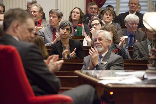House members listen to Gov. Peter Shumlin's budget address. - MATTHEW THORSEN