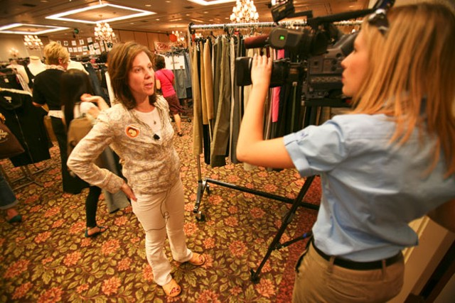 Leslie Halperin, left, at the 2010 Clothes Exchange - JORDAN SILVERMAN