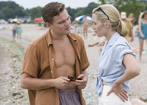 LIFE'S A BEACH  DiCaprio and Winslet play a  '50s couple who don't get along  as swimmingly as they did in  earlier days.