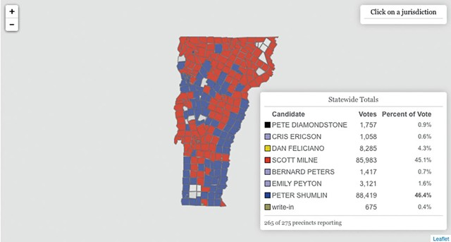Live map from the secretary of state's website showing election results four days after the election with incomplete results.