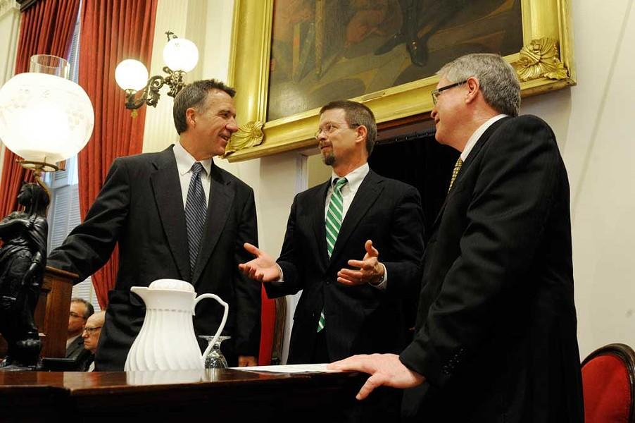 Lt. Gov. Phil Scott, House Speaker Shap Smith and Senate President Pro Tem John Campbell - JEB WALLACE-BRODEUR