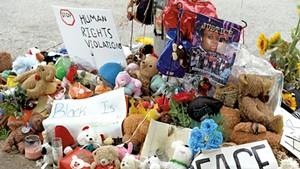Makeshift memorial for Michael Brown In Ferguson, Mo.
