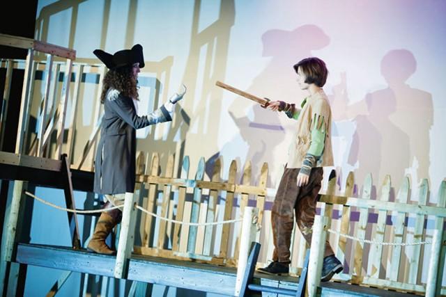 Marianne DiMascio as Captain James Hook and Isabelle Fenn as Peter Pan