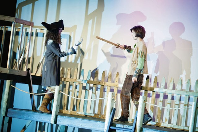 Marianne DiMascio as Captain James Hook and Isabelle Fenn as Peter Pan
