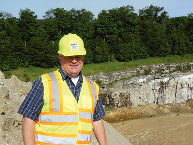 Mark Buckley, environmental, health, safety and quality manager for NYCO Minerals at the company's mining site in Lewis, N.Y.