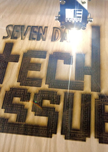 Matt Flego of Burlington's Generator maker space used a laser cutter to burn this week's Seven Days cover into a piece of wood. - MATTHEW THORSEN