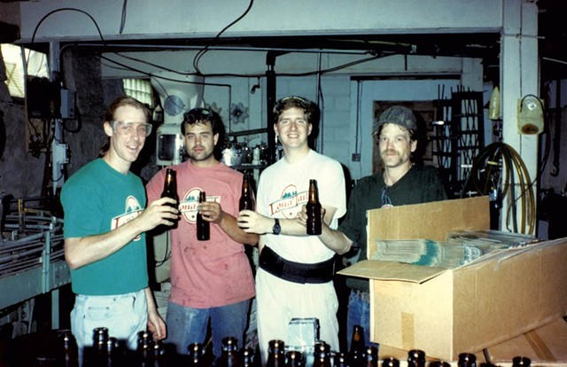 Matt Quinlan (left), and Billy Gualt with former Mountain Brewers employees, mid-1990s - PHOTOS COURTESY OF  LONG TRAIL BREWING CO.