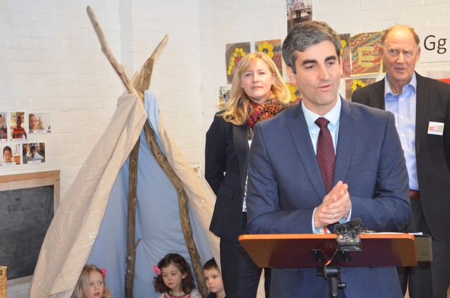 Mayor Miro Weinberger announces his early education initiative with Julie Coffey, executive director of Building Bright Futures, and Rick Davis, cofounder of the Permanent Fund for Vermont's Children. - ALICIA FREESE