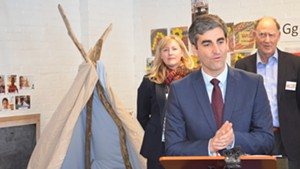 Mayor Miro Weinberger announces his early education initiative with Julie Coffey, executive director of Building Bright Futures, and Rick Davis, cofounder of the Permanent Fund for Vermont's Children.