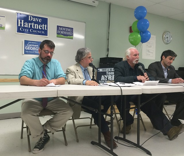 The candidates, from left to right: Loyal Ploof, Greg Guma, Steve Goodkind and Miro Weinberger - ALICIA FREESE
