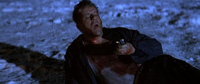 McClane prepares to light the trail of fuel on fire. Because this movie needs more fire. - 20TH CENTURY FOX PICTURES