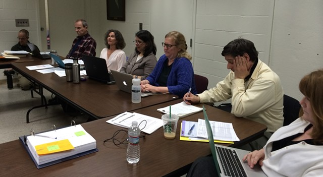 Members of the Burlington School Board finance committee at Ira Allen School Wednesday - ALICIA FREESE