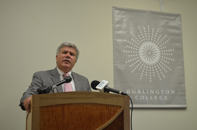 Michael Smith addresses students, staff and reporters at a press conference at Burlington College last week. - ALICIA FREESE