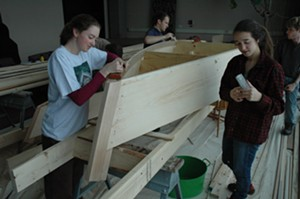 COURTESY OF FROG HOLLOW STATE CRAFT CENTER - Middlebury College students building replica boat