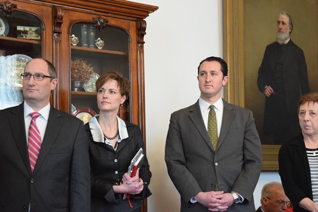 Secretary of Administration Justin Johnson, Shumlin chief of staff Liz Miller and Department of Public Service deputy commissioner Darren Springer at a press conference Thursday at the Statehouse - TERRI HALLENBECK