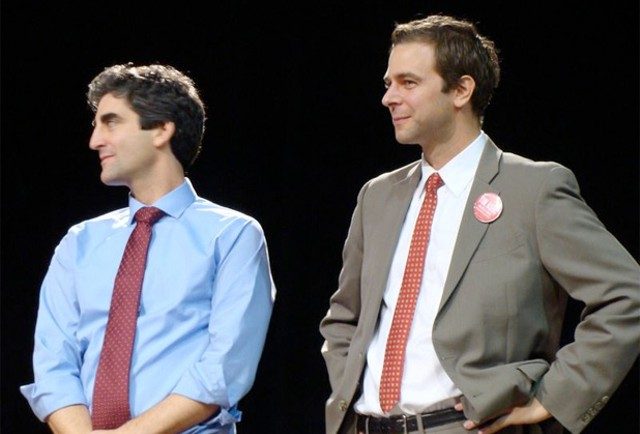 Miro Weinberger and Tim Ashe at the caucus