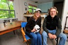 Moretown flood victims Rebecca Sykes and Gary Butler at their temporary home in a Fayston vacation rental.