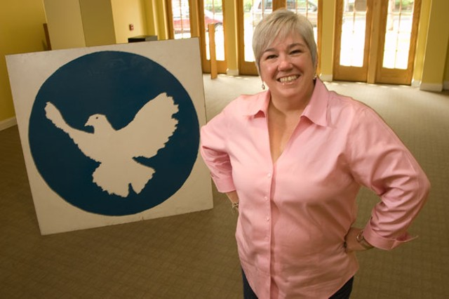 Nancy Lynch at the new Peace and Justice Center Space - MATTHEW THORSEN