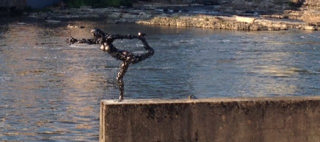 """Natarajasana"" by Tyler Vendituoli, on the Winooski River in Burlington - COURTESY OF XIAN CHIANG-WAREN"