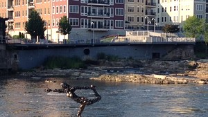 """Natarajasana"" by Tyler Vendituoli, on the Winooski River in Burlington"