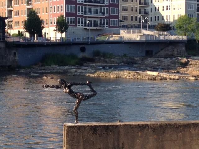 """Natarajasana"" by Tyler Vendituoli, on the Winooski River in Burlington - COURTESY OF XIAN CHIANG-WAREN"