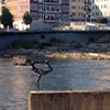 "A Metal ""Dancer"" Poses on the Winooski River"