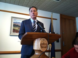 Gov. Peter Shumlin speaks to reporters at the Montpelier news conference Tuesday. - TERRI HALLENBECK