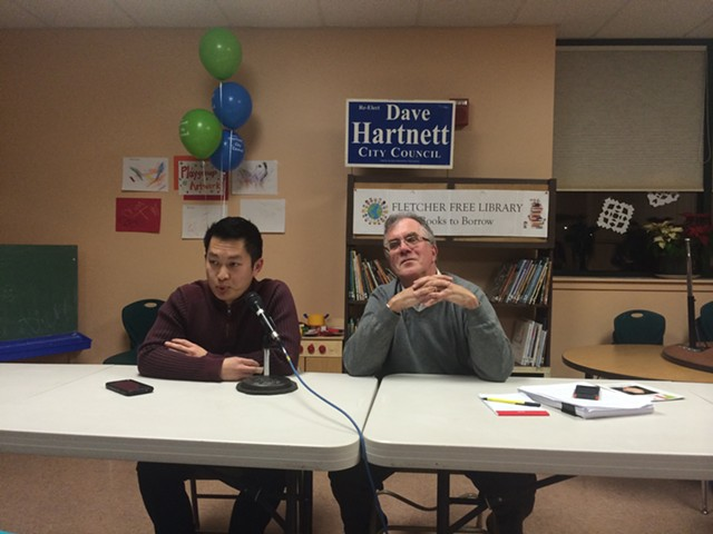 Republican Michael Ly, left, and Democratic incumbent Tom Ayres at a recent candidate forum. - ALICIA FREESE