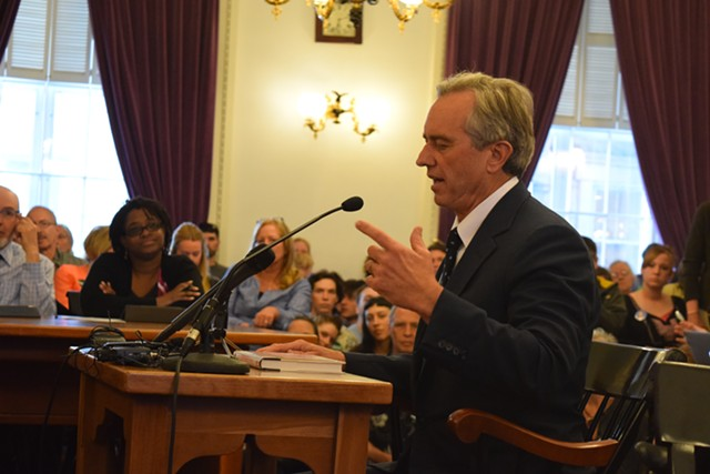 Robert Kennedy Jr. testifies Tuesday at the Vermont Statehouse. - TERRI HALLENBECK