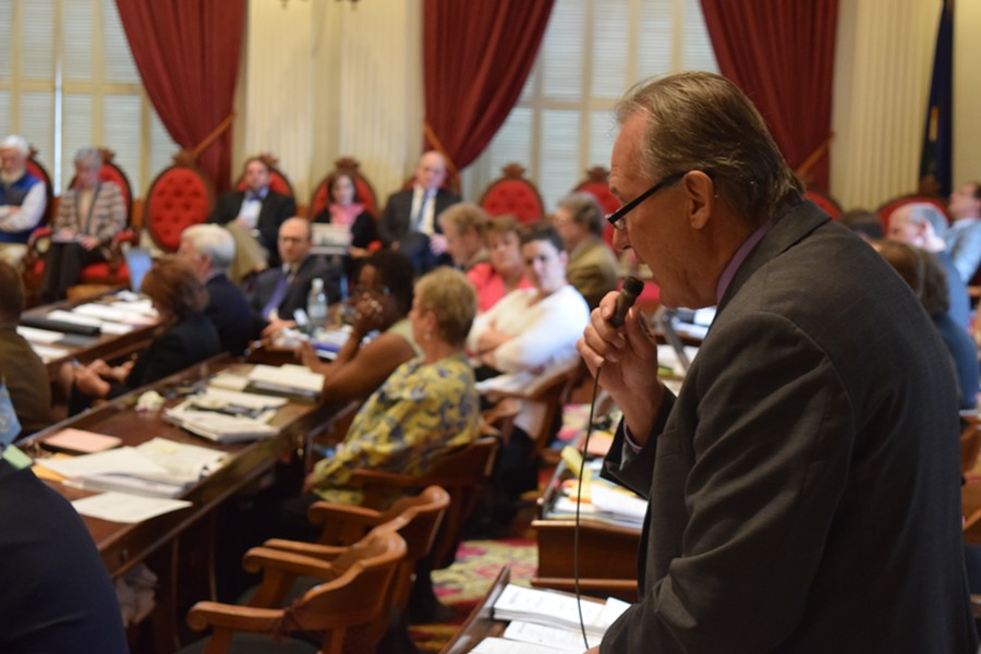 Rep. Paul Poirier (I-Barre) urges fellow House members  Wednesday to repeal a 2013 law that allows terminally ill patients to hasten their own deaths. - TERRI HALLENBECK