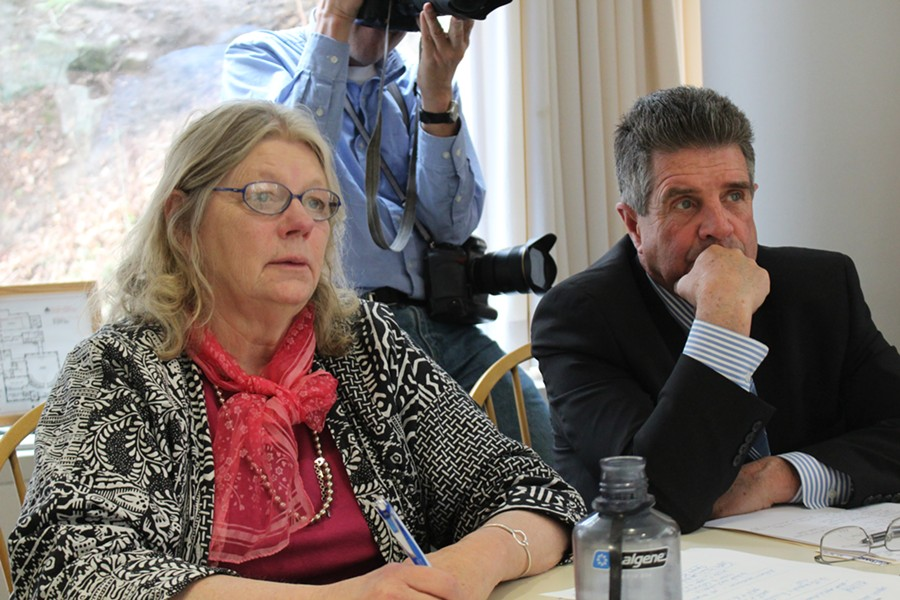 Sen. Jeanette White and Sen. Brian Collamore at a Senate Committee on Government Operations meeting Tuesday. - PAUL HEINTZ