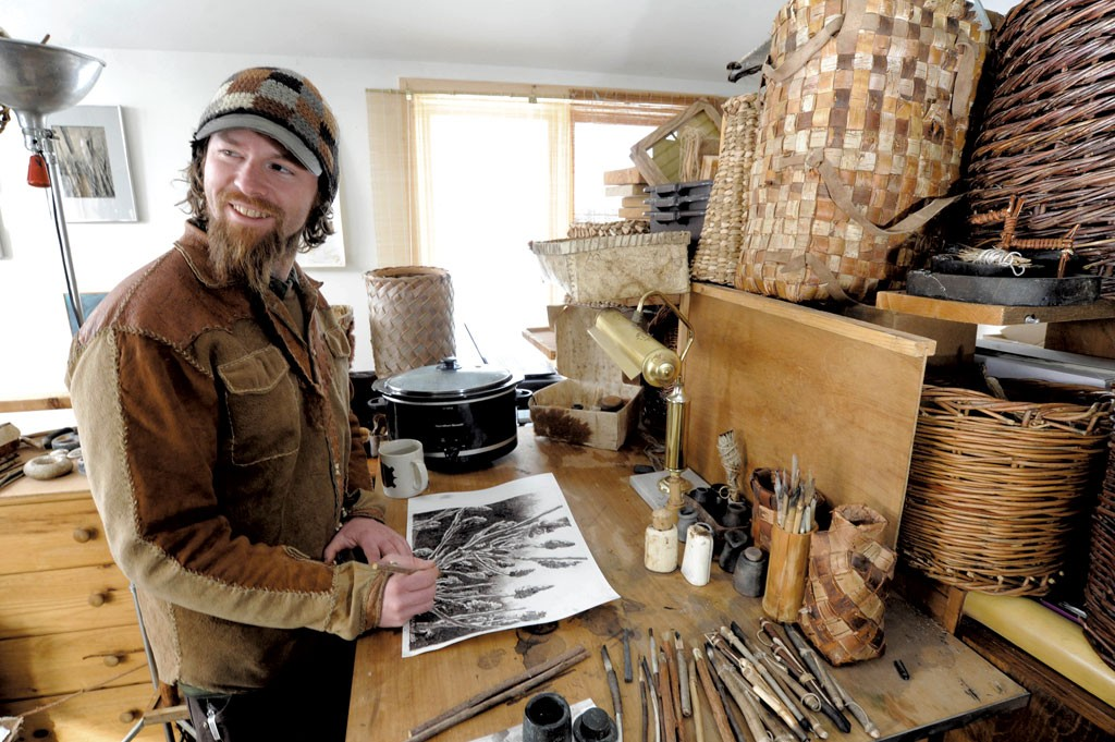 Nick Neddo with his handmade art supplies - JEB WALLACE-BRODEUR