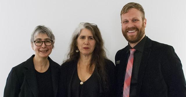 Sumru Tekin, left, with 2013 recipient Kate Donnelly and BCA Center curator DJ Hellerman - COURTESY OF BURLINGTON CITY ARTS