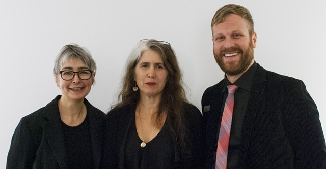 Sumru Tekin, left, with 2013 recipient Kate Donnelly and BCA Center curator DJ Hellerman - COURTESY OF BURLINGTON CITY ARTS