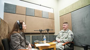 Norwich Voice Oral History project coordinator Jennifer Payne interviewing Captain Gregory R. Wortman