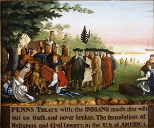 "COURTESY OF THE SHELBURNE MUSEUM - ""Penn's Treaty With the Indians"" by Edward Hicks"